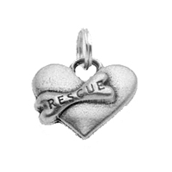 Pewter Dog Collar Charm - Rescue Heart Charm