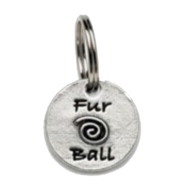 Pewter Dog Collar Charm or Cat Collar Charm: Fur Ball