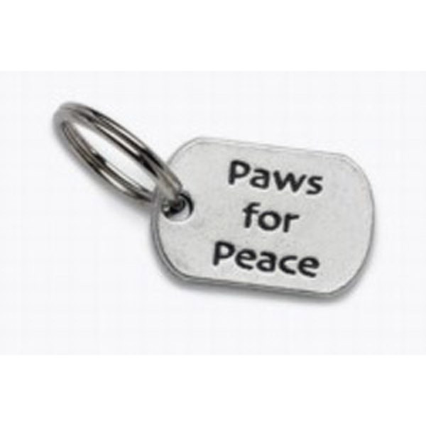 Pewter Dog Collar Charm or Cat Collar Charm: Paws for Peace