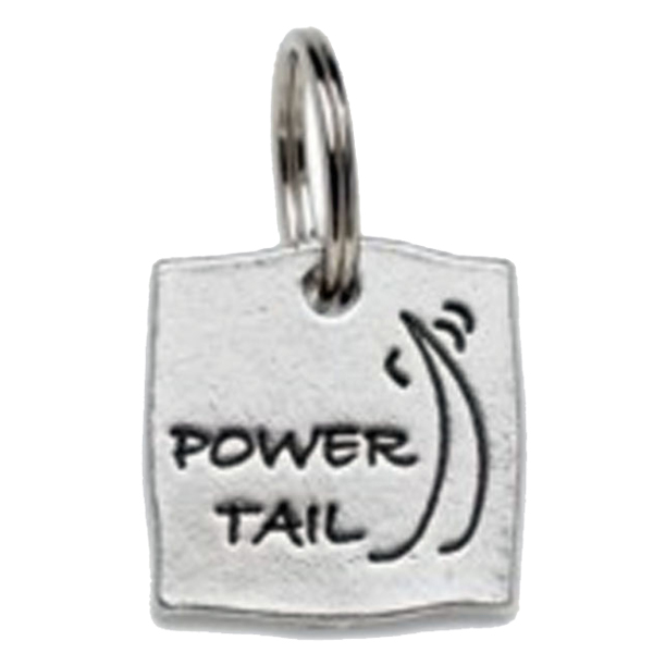 Pewter Dog Collar Charm or Cat Collar Charm: Power Tail