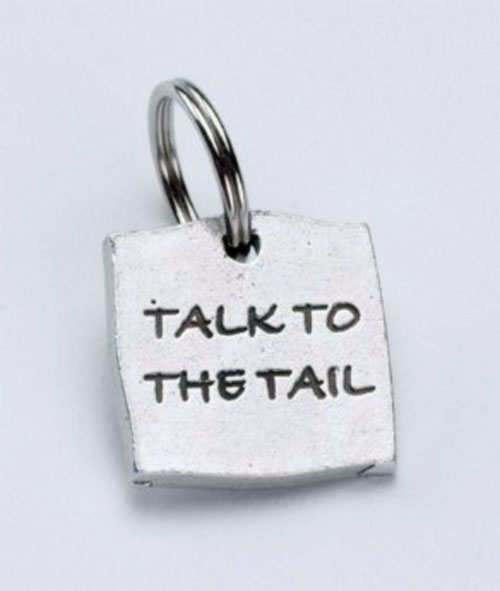 Pewter Dog Collar Charm or Cat Collar Charm: Talk to the Tail