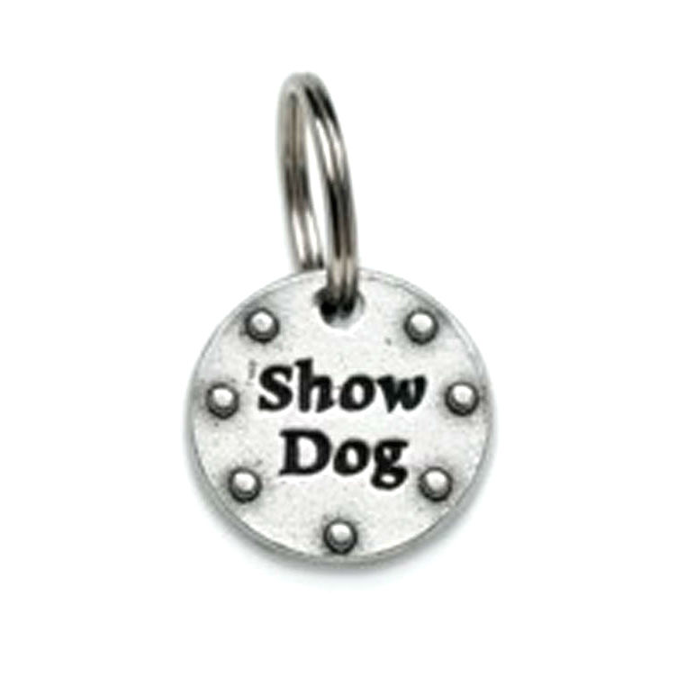 Pewter Dog Collar Charm: Show Dog