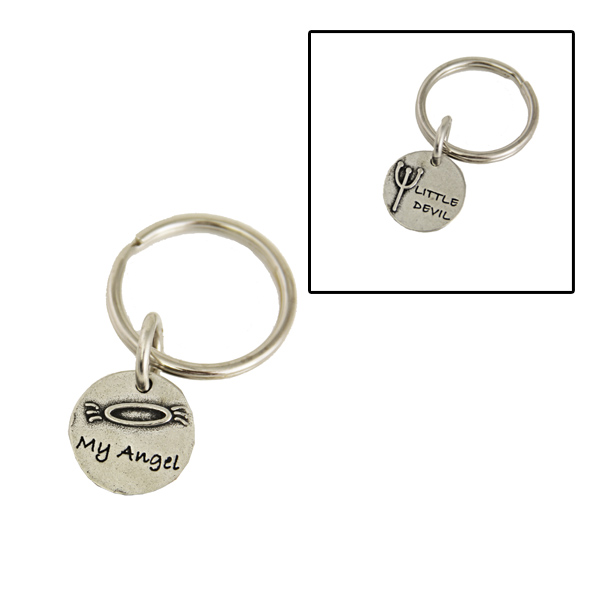Pewter Pet Lover Keychain - Angel/Devil