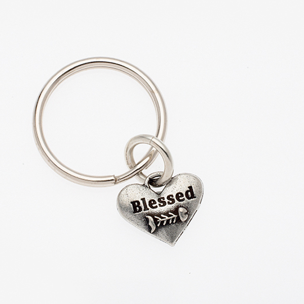 Pewter Pet Lover Keychain - Blessed Cat Fishbone