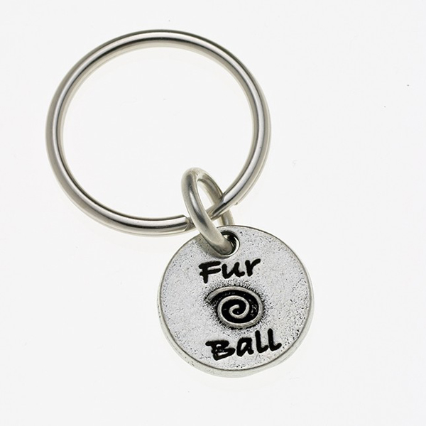 Pewter Pet Lover Keychain - Fur Ball