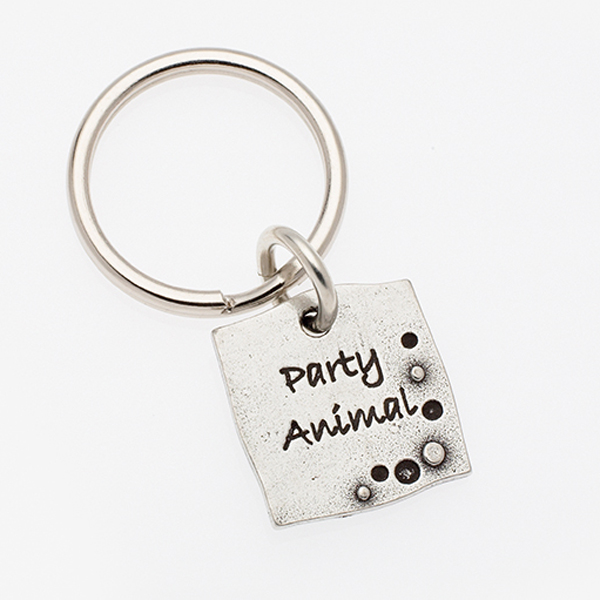Pewter Pet Lover Keychain - Party Animal