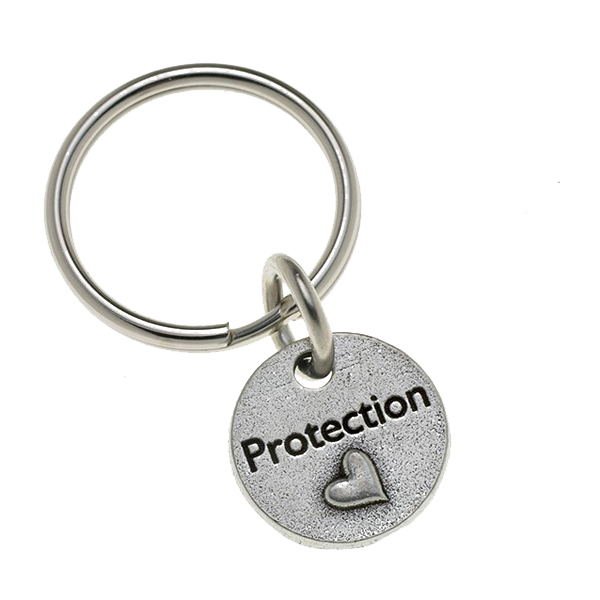 Pewter Pet Lover Keychain - Protection Heart