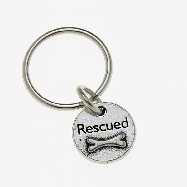 Pewter Pet Lover Keychain - Rescued Bone