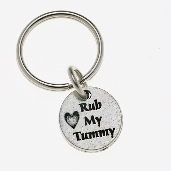 Pewter Pet Lover Keychain - Rub My Tummy