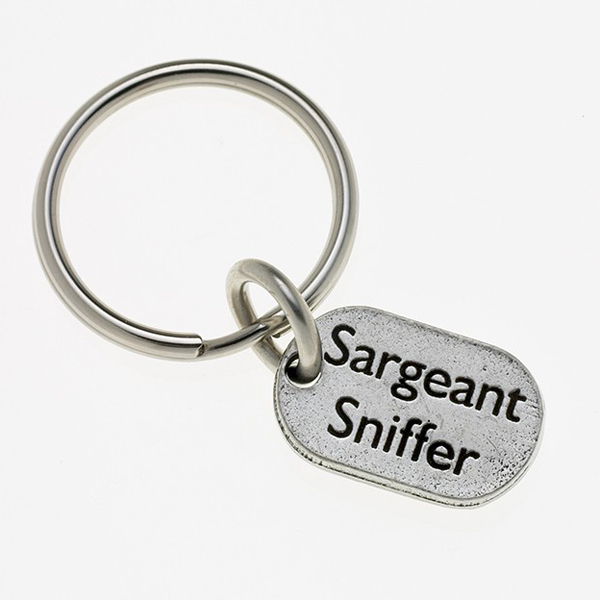 Pewter Pet Lover Keychain - Sargeant Sniffer