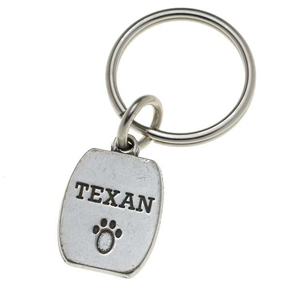 Pewter Pet Lover Keychain - Texan