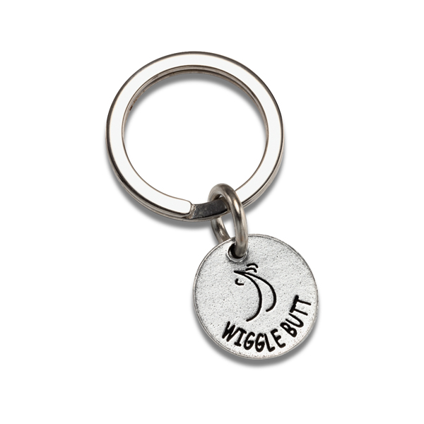 Pewter Pet Lover Keychain - Wiggle Butt