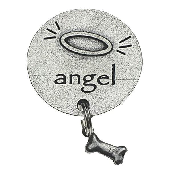 Pewter Pet Magnet: Pet Angel w/Bone