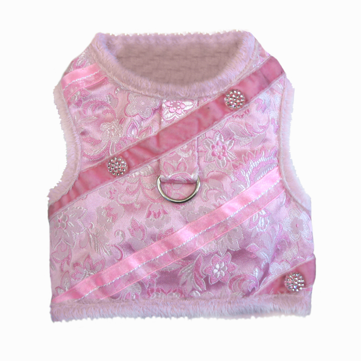 Pink Brocade Minky Plush Dog Harness with Leash
