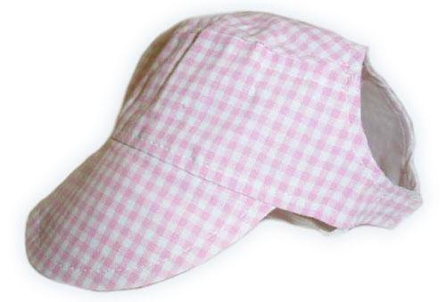 Pink Gingham Visor Cap