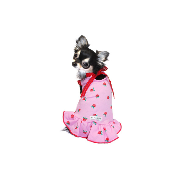 Pink Strawberry Dog Dress by Hip Doggie