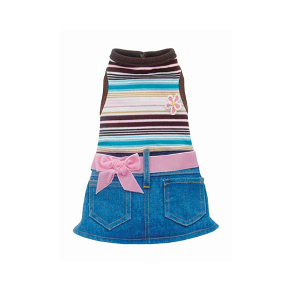 Pink Stripe Denim Mini Skirt Outfit by Hip Doggie