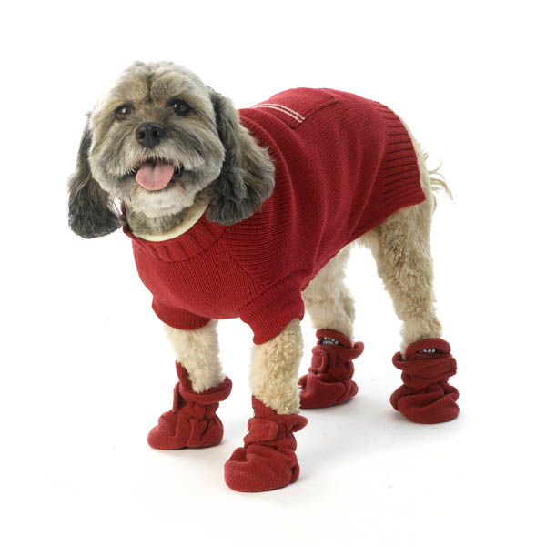 Piper's Fleece Dog Booties - Red