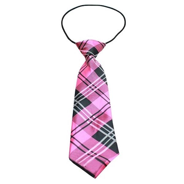 Plaid Big Dog Neck Tie - Pink   BaxterBoo