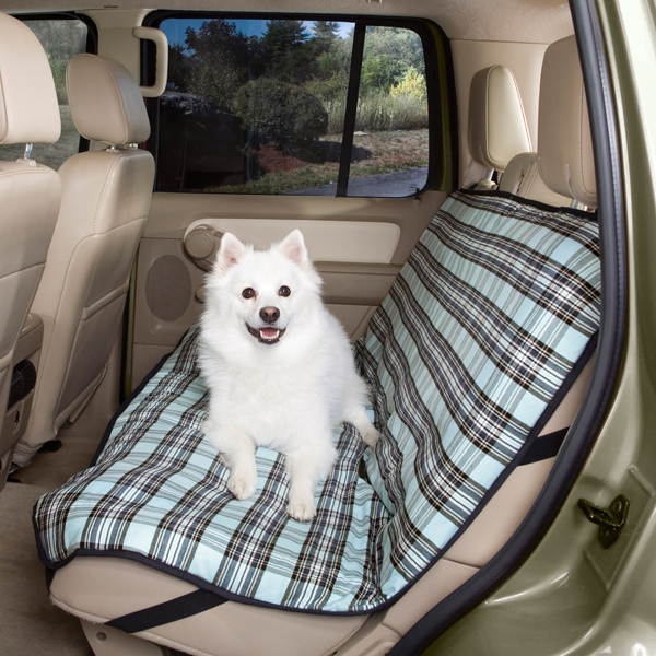 Plaid Car Seat Cover - Blue