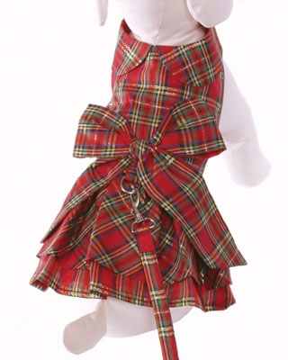 Plaid Christmas Dog Dress & Leash - Red Bow