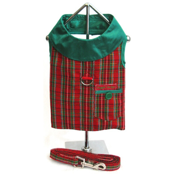 Plaid Christmas Holiday Harness Vest and Leash Set - Red & Green