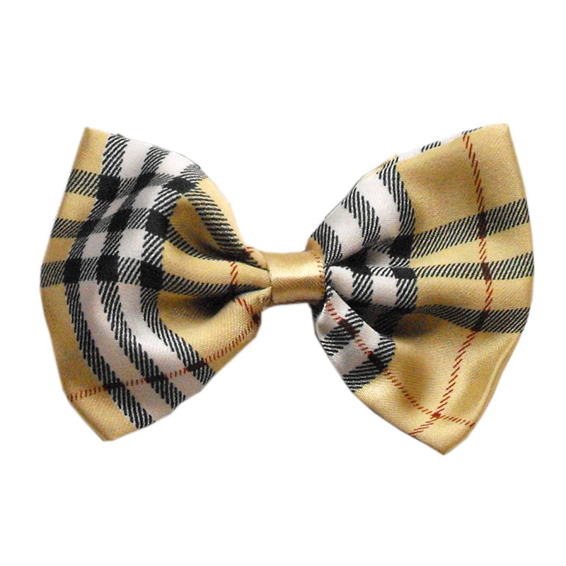 Plaid Dog Bow Tie - Cream | BaxterBoo