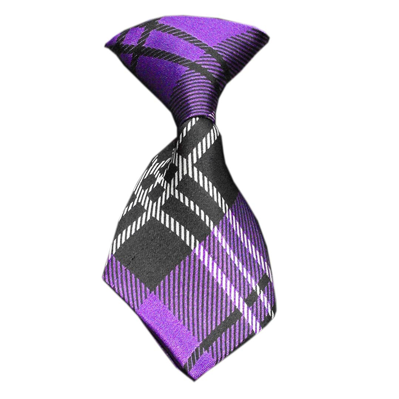 Plaid Dog Neck Tie - Purple