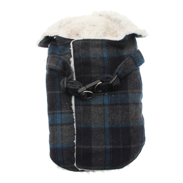 Plaid Fleece Lined Dog Wrap Coat - Blue