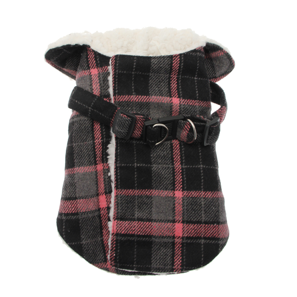 Plaid Fleece Lined Dog Wrap Coat - Pink