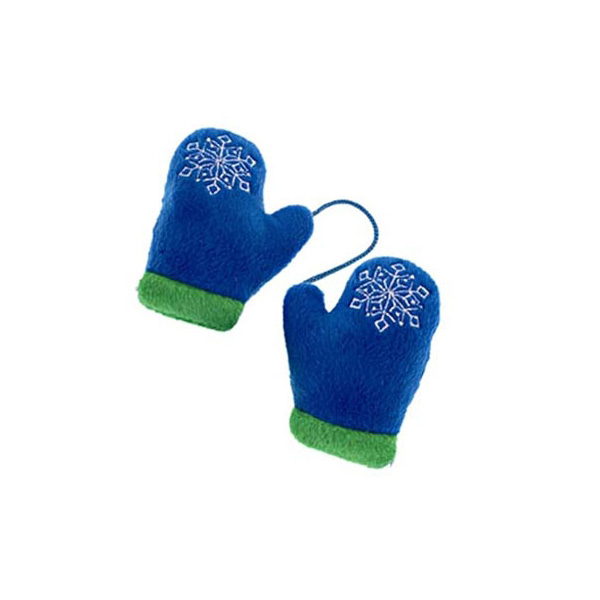Plush Mittens with Squeaker Dog Toy - Blue