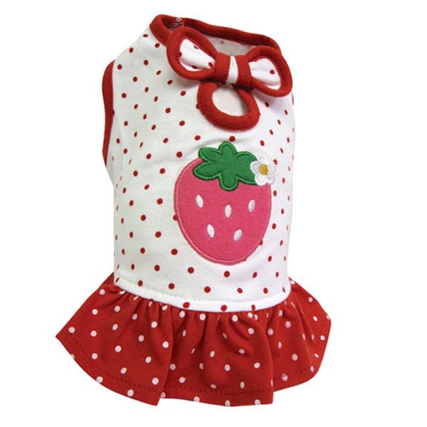 Polka Dots Strawberry Dog Dress by Klippo