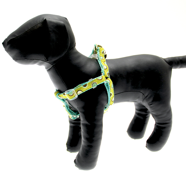 Polkastripe Dot Ribbon Dog Harness - Aqua Brown