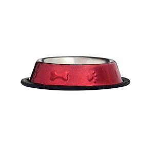 ProSelect Bone & Paw Embossed Bowl - Red