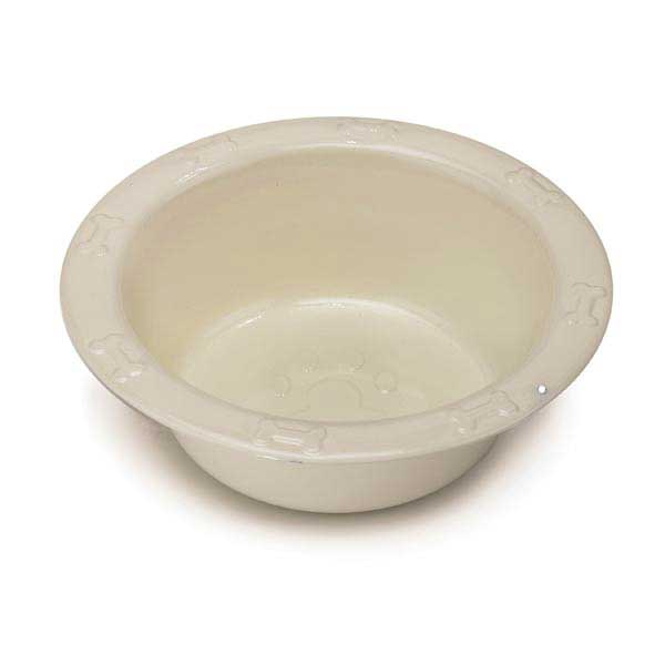 ProSelect Embossed Stainless Steel Feed Bowl - Ivory