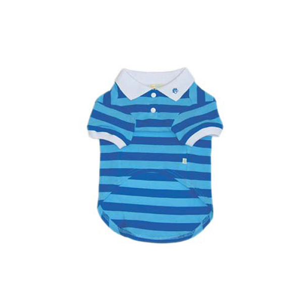 PuppyPAWer Stripe Polo by Dogo - Blue