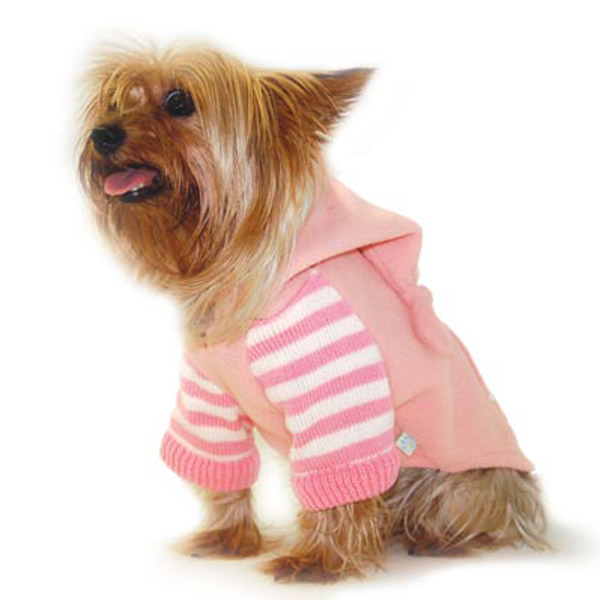 PuppyPAWer Striped Hoodie by Dogo - Pink