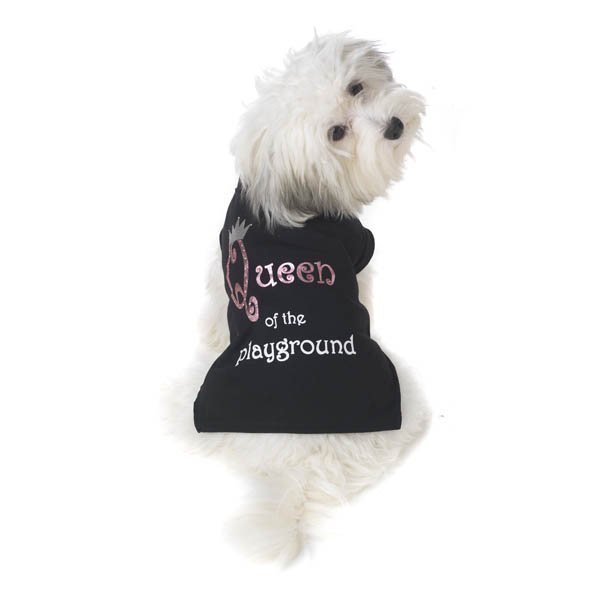 Queen of the Playground Dog T-Shirt - Black