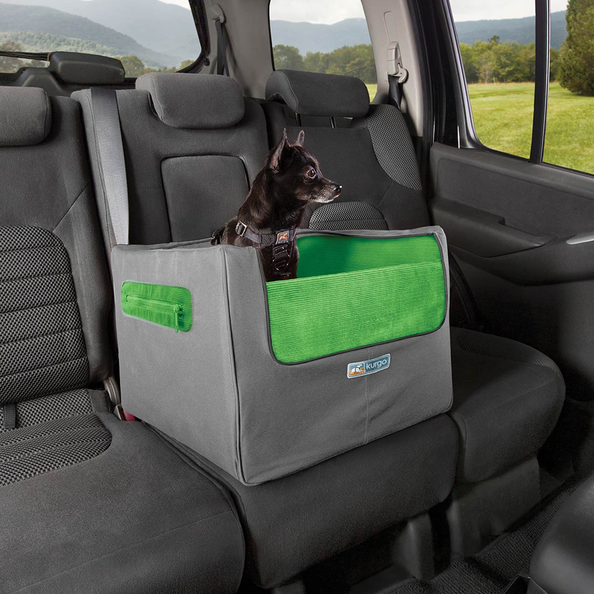 Rear Skybox Dog Booster Seat By Kurgo Green And Gray