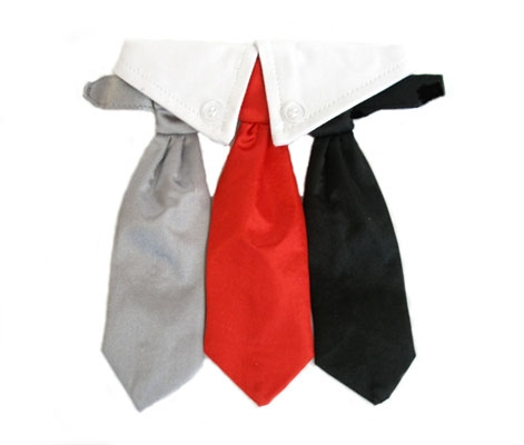 Red, Black and Grey Satin Neck Tie and Collar Set