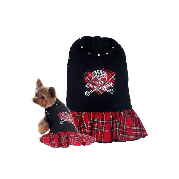 Red Plaid Skull Day Dress