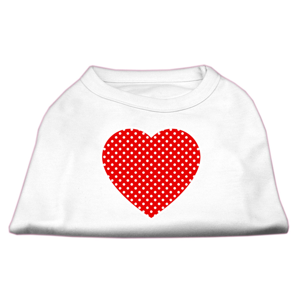 Red Swiss Dot Heart Dog Shirt