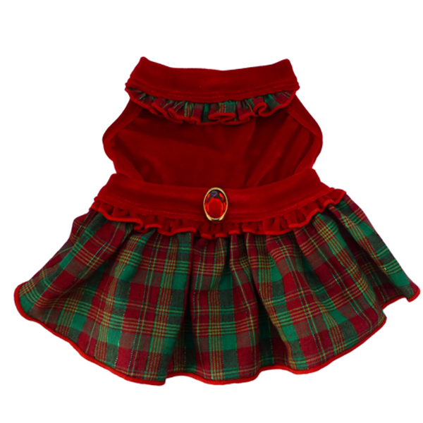 Red Velvet Plaid Dog Dress