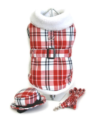 Red & White Fleece Lined Coat w/ Matching Hat and Leash