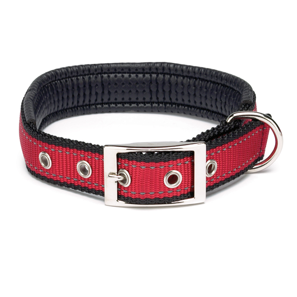 Reflective Cushion Dog Collar by Zack & Zoey - Red