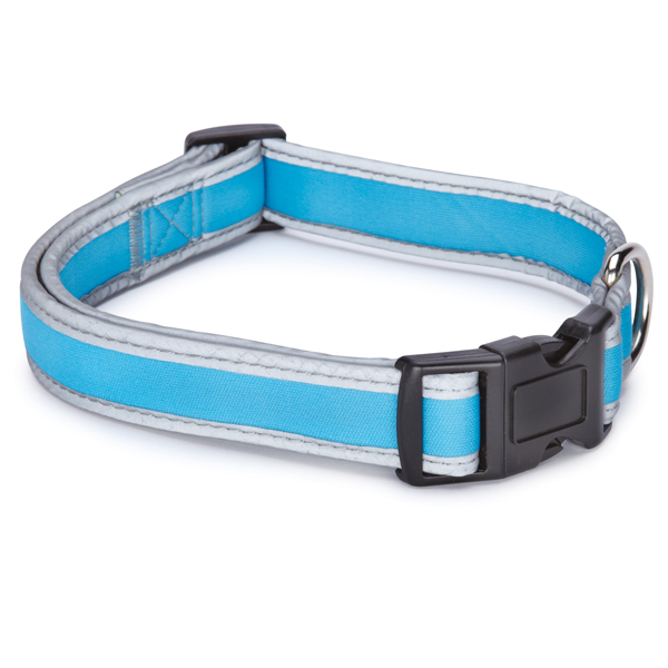 Reflective Neoprene Dog Collar - Bluebird