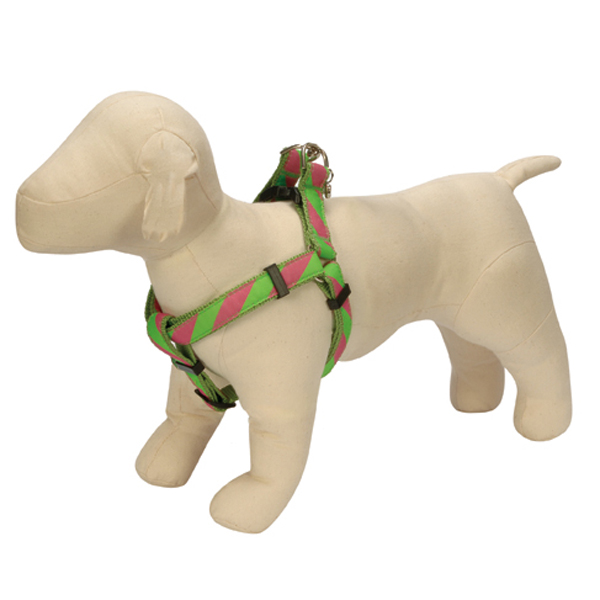 Ribbon Collegiate Stripe Dog Harness - Pink and Lime