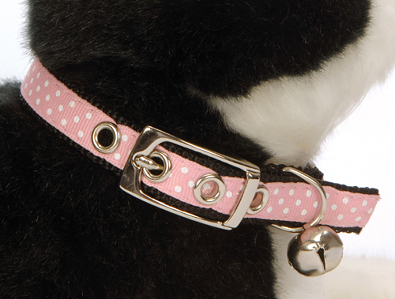 Ribbon Pink Polka Dot Cat Collar