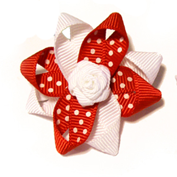 Rosette and Dots Dog Bow - Red and White