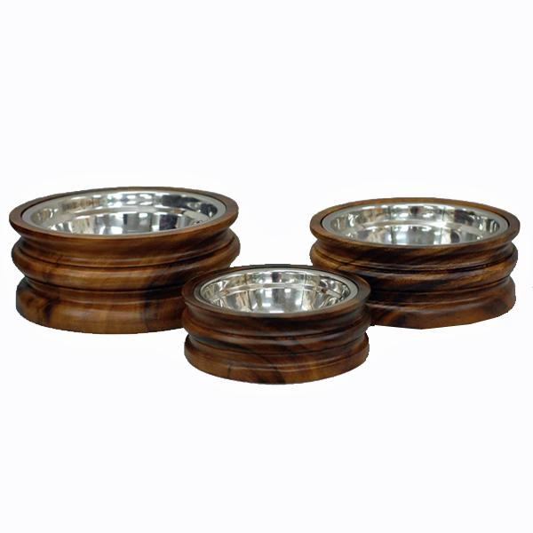 Rowley Wooden Dog Bowl
